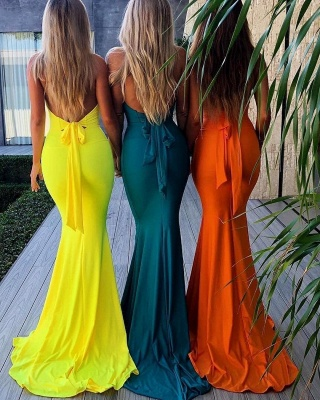 Elegant Halter without Sleeve Open back Bowknot Elegant Mermaid Prom Dress UK UK_2