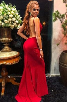 Elegant Trendy Burgundy Maroon Spaghetti-Straps Open back Elegant Mermaid Prom Dress UK UK_2