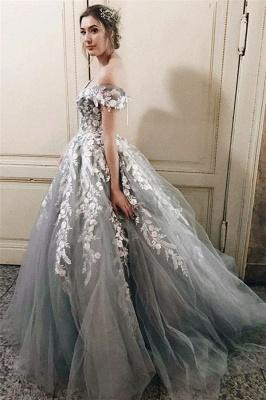 Lace Appliques Off-the-Shoulder Prom Dress UKes UK Lace up Ball Gown Sleeveless Evening Dress UKes UK_3