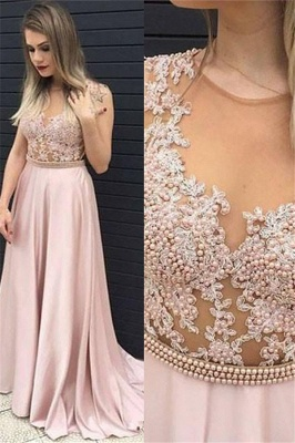 Jewel Beads Lace Appliques Prom Dress UKes UK Pink Sleeveless Tulle Evening Dress UKes UK Sexy_1