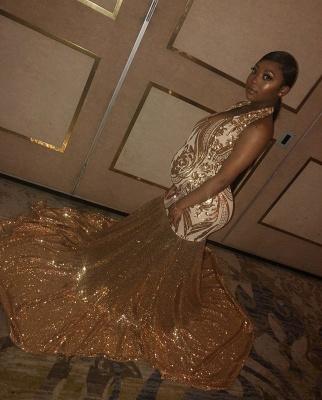 Sexy Gold Halter Sequins Prom Dress UKes UK Over Size Mermaid Sleeveless Evening Dress UKes UK_2