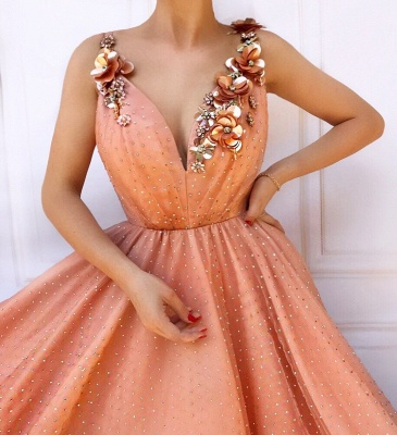 Orange Floral Lace Appliques Straps Sleeveless Tulle A-Line Prom Dress UK_2