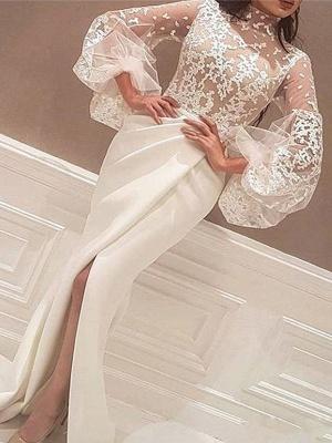 High Neck Lace Long Sleeves Prom Dress UKes UK Mermaid Ruffles Elegant Evening Dress UKes UK Sexy_1