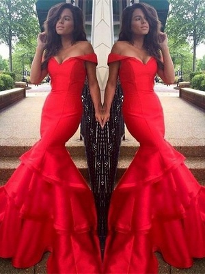 Sexy Off-the-Shoulder Ruffles Prom Dress UKes UK Mermaid Sleeveless Evening Dress UKes UK_2