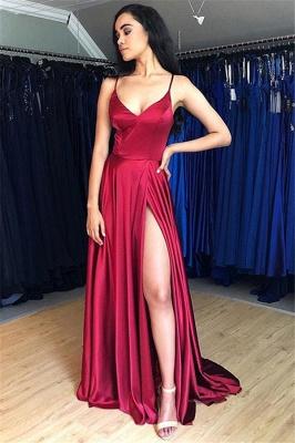 Spaghetti Strap Lace Up Prom Dress UKes UK Side Slit Sleeveless Evening Dress UKes UK_1