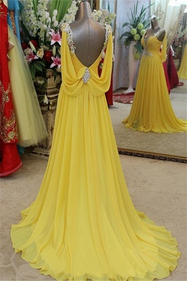 Charming Yellow Spaghetti Strap Open Back Prom Dress UKes UK Sleeveless Lace Appliques Evening Dress UKes UK with Beads_2