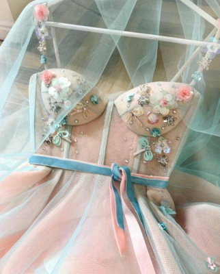 Sexy Flower Bowknot Spaghetti-Strap  Prom Dress UKes UK Ribbons Sheer Sleeveless Evening Dress UKes UK with Beads_3