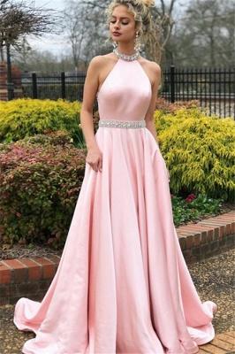 Sexy Pink Halter Crystal Open Back Prom Dress UKes UK Sleeveless Ruffles Elegant Evening Dress UKes UK with Sash_1