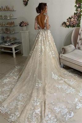 Elegant Lace Appliques V-Neck Wedding Dresses UK | Sheer Long Sleeves Backless Floral Bridal Gowns_2