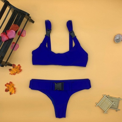 Plain Scoop Colorful Two-piece Buckled Bikini Swimsuits_10