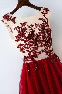 Lace Appliques Jewel Prom Dress UKes UK Tulle Sleeveless Evening Dress UKes UK with Beads_2