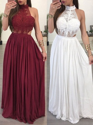 Lace Halter Sleeveless Ruffles Prom Dress UKes UK Popular Sexy Elegant Evening Dress UKes UK_1