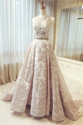 Sexy Pink Ribbons Lace Appliques  Prom Dress UKes UK Jewel Sleeveless Evening Dress UKes UK_1