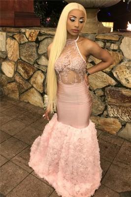 Pink Halter Lace Appliques Flower Prom Dress UKes UK Mermaid Lace Sleeveless Evening Dress UKes UK_2
