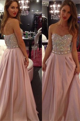 Sweetheart Crystal Prom Dress UKes UK Fashion Pink Sleeveless Evening Dress UKes UK_1