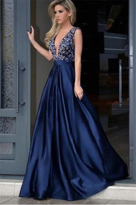 Sexy Crystal Elegant V-Neck Lace Appliques Prom Dress UKes UK Ribbon Sleeveless Evening Dress UKes UK_1