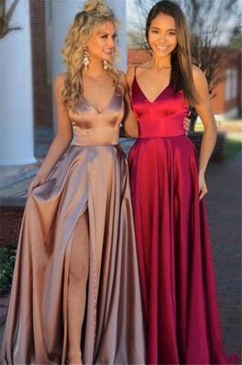 Sexy Spaghetti Strap Sleeveless Prom Dress UKes UK Side Slit Elegant Evening Dress UKes UK Sexy_1