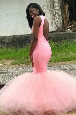Sweet Pink Sleeveless Lace Appliques Backless Tulle Elegant Trumpt Prom Dress UKes UK UK_2