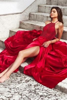 Sexy Red Halter Sleeveless Prom Dress UKes UK Side Slit Elegant Evening Dress UKes UK with Beads_3