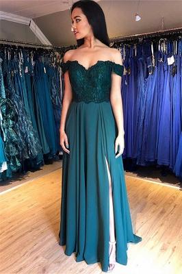 Sexy Off-the-Shoulder Lace Appliques Prom Dress UKes UK Side Slit Sleeveless Evening Dress UKes UK with Beads_2