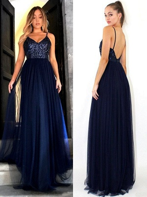 Crystal Spaghetti Strap Open Back Prom Dress UKes UK Tulle Elegant Evening Dress UKes UK with Beads_3