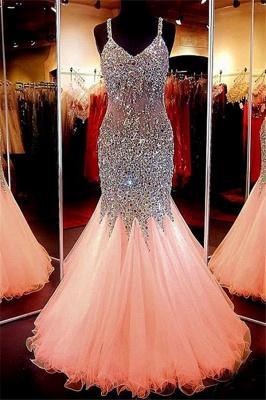 Spaghetti Strap Beads Crystal Prom Dress UKes UK Sleeveless Pink Lace Up Evening Dress UKes UK_4