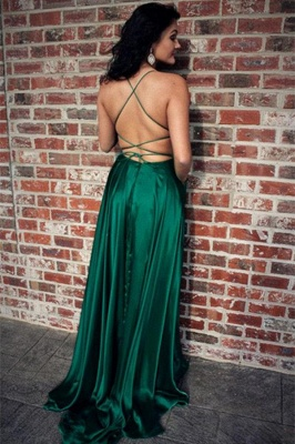 Green Lace Up Halter Prom Dress UKes UK Front Slit Sexy Evening Dress UKes UK with Package_2