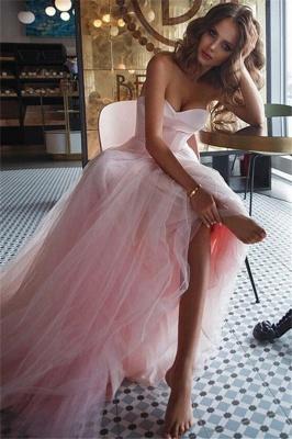 Pink Sweetheart Ruffles Prom Dress UKes UK Tulle Sleeveless Elegant Evening Dress UKes UK Sexy_1