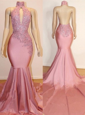 Halter Open back Elegant Mermaid Lace Appliques Long Train Prom Dress UK UKes UK_1