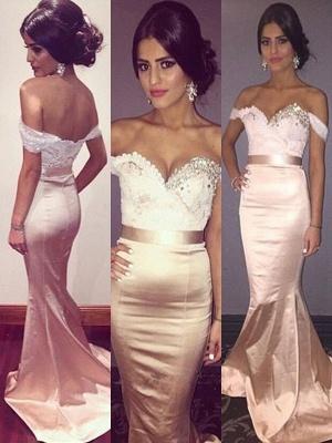 Sexy Off-the-Shoulder Crystal Prom Dress UKes UK Lace Mermaid Sleeveless Elegant Evening Dress UKes UK with Sash_2