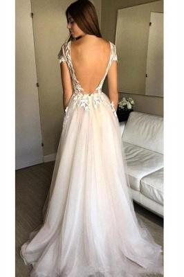Elegant V-Neck Lace Appliques Prom Dress UKes UK Sheer Sleeveless Evening Dress UKes UK_2