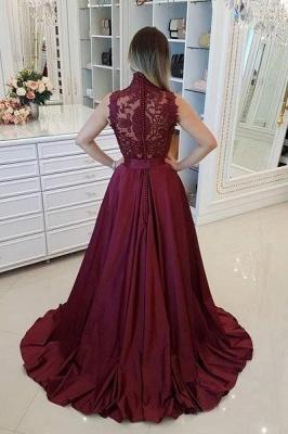 Burgundy High Neck Applique Prom Dress UKes UK Sleeveless Beads Elegant Evening Dress UKes UK with Sash_3