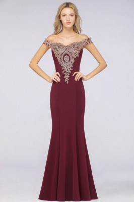 Simple Off-the-shoulder Burgundy Formal Dress with Lace Appliques_33
