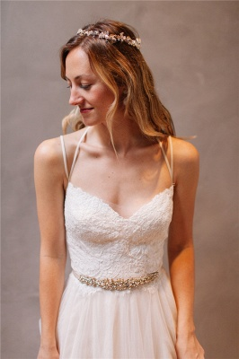 Elegant Lace Crystal Spaghetti-Strap Wedding Dresses UK Sheer Cheap Lace Up Sleeveless Floral Bridal Gowns