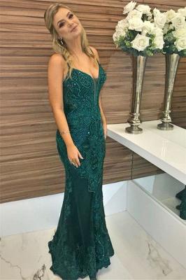 Green Beaded Spaghetti-Straps Lace Appliques without Sleeve Elegant Mermaid Evening Dress UK UK_4