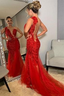 Trendy Burgundy Maroon Asymmetric Lace Applique Open back Elegant Mermaid Tullle Prom Dress UK UKes UK_2
