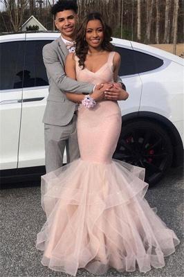 Sexy Pink Elegant V-Neck Prom Dress UKes UK Mermaid Falbala Tulle Sleeveless Evening Dress UKes UK_1