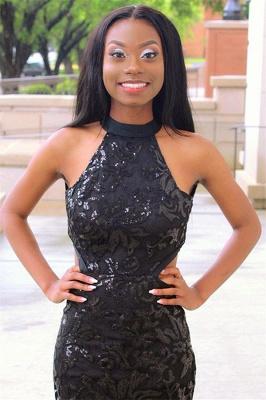 Elegant Blcak Halter Sleeveless Lace Applique Tulle Elegant Trumpt Prom Dress UK_2