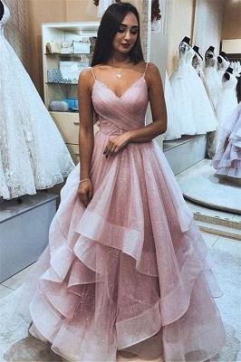 Simple Sexy Pink Spaghetti-Straps A-Line Tulle Ruffle Prom Dress UK UKes UK_1