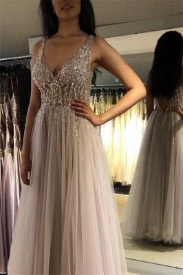 Elegant V-Neck Crystal Open Back Prom Dress UKes UK Tulle Sexy Sleeveless Evening Dress UKes UK_2