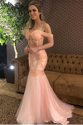Simple Sexy Pink Off-The-Shoulder Applique Tulle Elegant Mermaid Prom Dress UK UK_1
