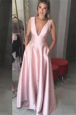 Sexy Elegant V-Neck Ruffles Sash Prom Dress UKes UK Sleeveless Elegant Evening Dress UKes UK with Pocket Sexy_1