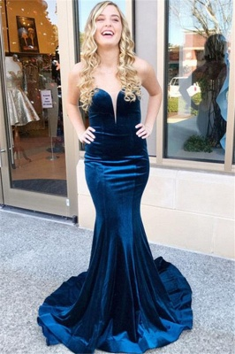 Sweetheart Lace Up Prom Dress UKes UK Sleeveless Mermaid Ruffles Elegant Evening Dress UKes UK_1