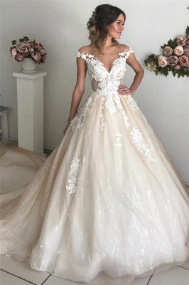 Applique Off-the-Shoulder Wedding Dresses UK Sequins Backless Sleeveless Floral Bridal Gowns