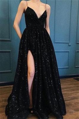 Spaghetti Strap Sequins Prom Dress UKes UK Sleeveless Side Slit Elegant Evening Dress UKes UK_1