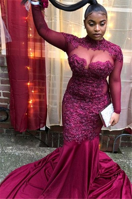 Trendy Burgundy Maroon High-Neck with Sleeves Sheer-Tulle Applique Prom Dress UK UK_1