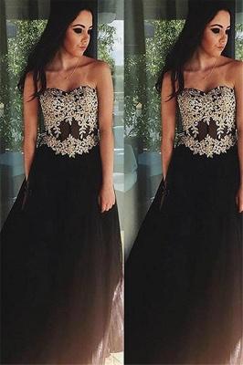 Black Lace Appliques Sweetheart Prom Dress UKes UK Tulle Simple Evening Dress UKes UK Sexy_1