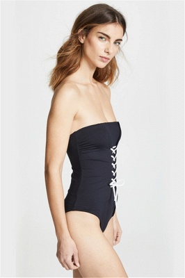 Convertible Black One-piece Lace-up Sexy Swimsuits_5