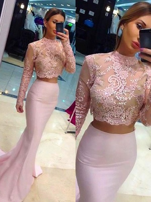 Sexy High Neck Lace Appliques Long Sleeves Prom Dress UKes UK Mermaid Pink Lace Two Piece Evening Dress UKes UK_2