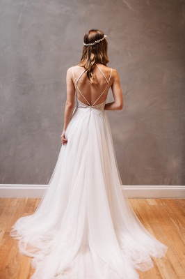 Elegant Lace Crystal Spaghetti-Strap Wedding Dresses UK Sheer Cheap Lace Up Sleeveless Floral Bridal Gowns_2